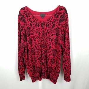 Lane Bryant red/black holiday party sweater size28